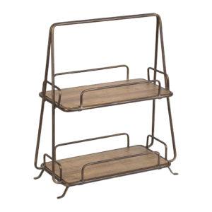 acheter serviteur haut de gamme à 2 niveaux en bois naturel et fer noir