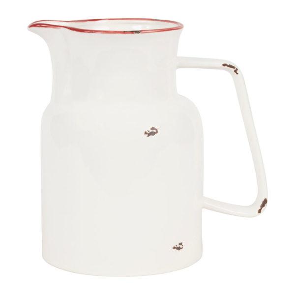 Pichet style rétro et campagne blanc et rouge comptoir de famille 1L