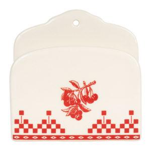 porte serviette blanc en faience comptoir de famille damier rouge