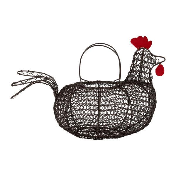panier poule en fer forgé noir