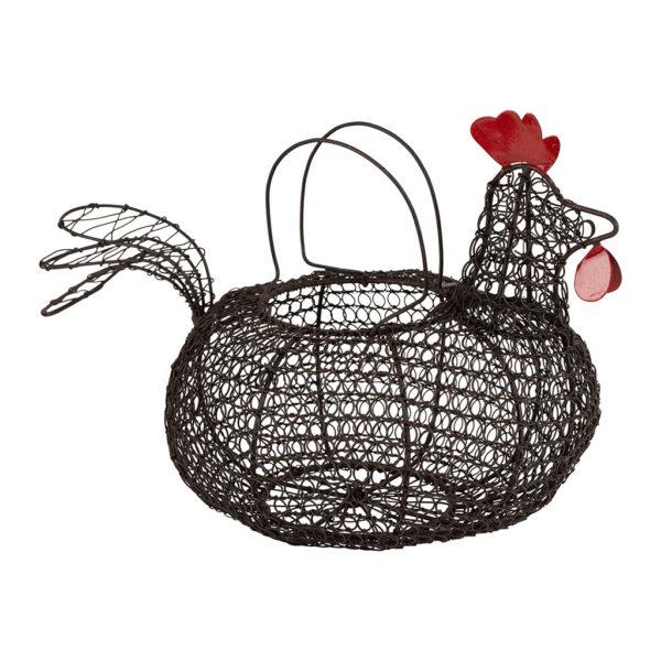Panier noir en fer forgé poule comptoir de famille