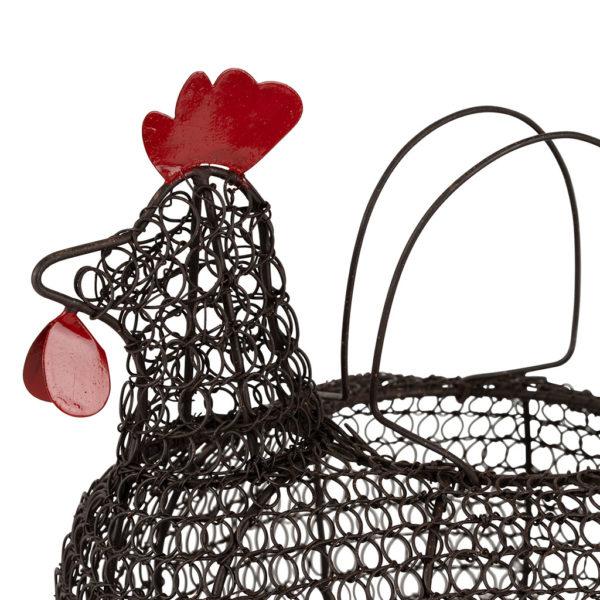 panier à oeufs poule en fer forgé noir