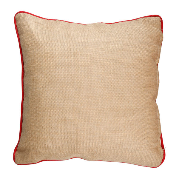 coussin carré en coton et lin couleur naturelle avec dessin groseille