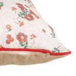 coussin couleur lin et motif groseille en coton
