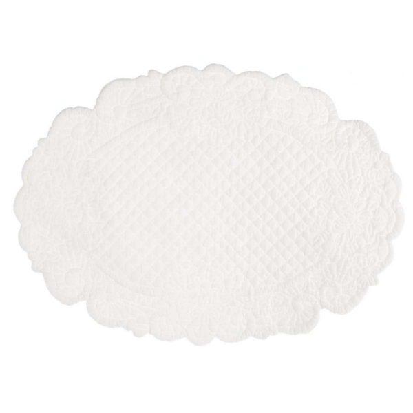 set de table ovale en boutis blanc coton