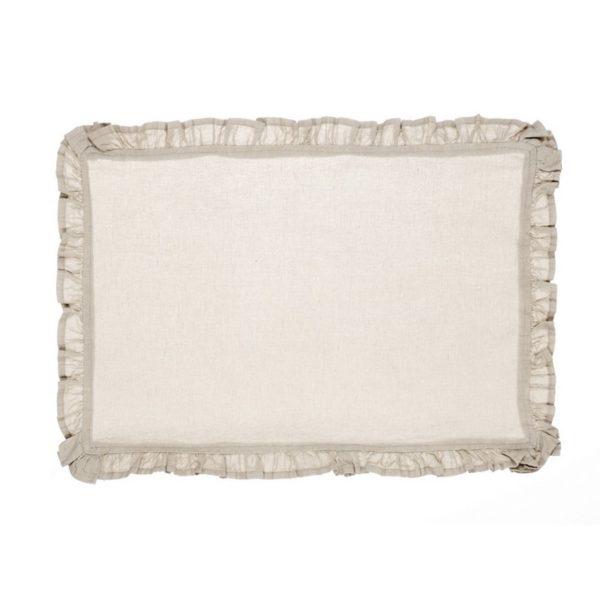 set de table beige en lin ton sur ton à volants blanc mariclo