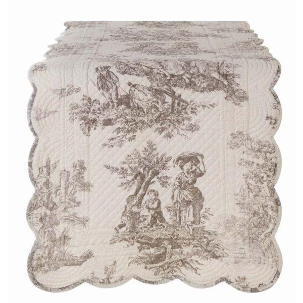 chemin de table toile de jouy en coton blanc cassé et ivoire 45x150 cm blanc mariclo