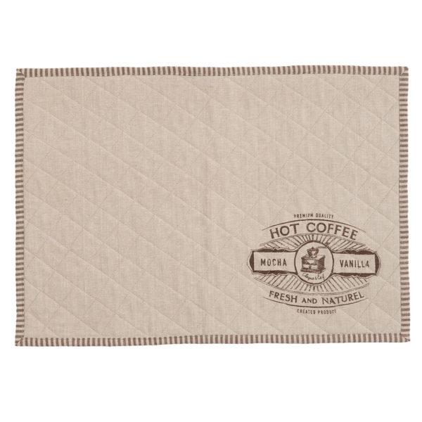 set de table en coton beige hot coffee liseré ligné brun