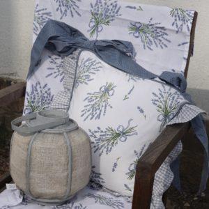 acheter housse de galette de chaise vichy bleu et lavande en coton