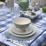 boutique d'arts de la table bleu lavande et vichy
