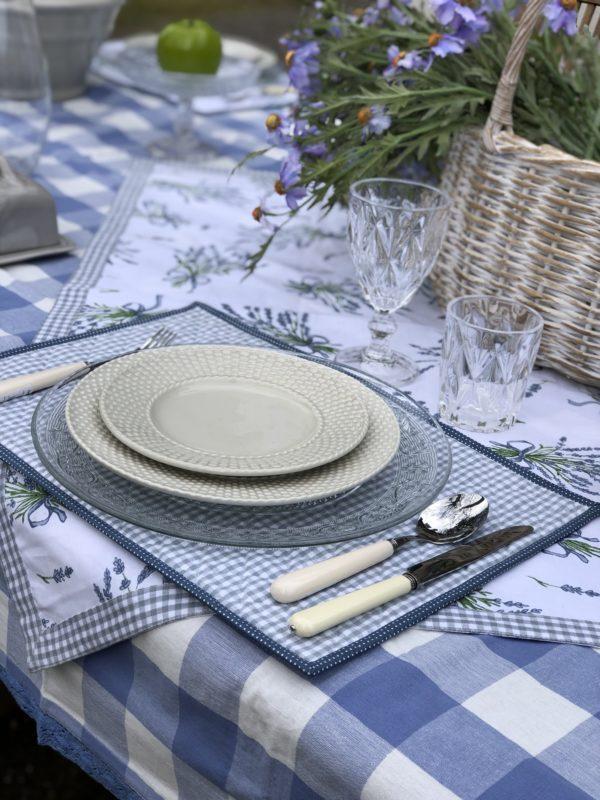 acheter textile de table bleu en coton vichy et lavande