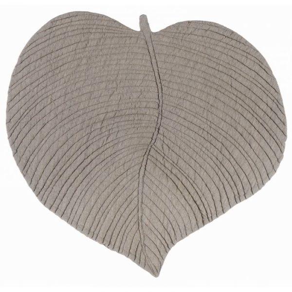 set de table gris tourterelle en forme de feuille coton épais