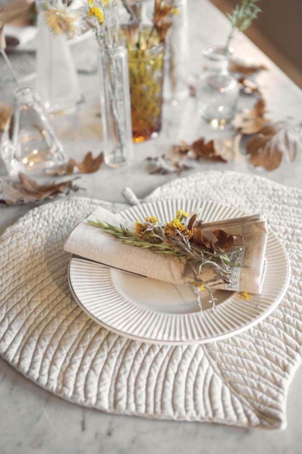 set de table chic pour l'automne en coton épais blanc mariclo
