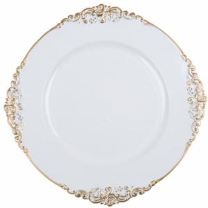 assiette de présentation décorative blanc mariclo shabby chic concerto 33 cm de diamètre