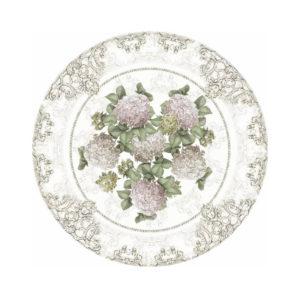 set de table en vinyle rond motifs fleuris blanc mariclo 35x35 cm