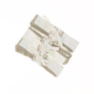 lot de 4 serviettes assorties blanches avec liseré en dentelle beige 40x40 cm