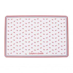set de table en plastique anti taches comptoir de famille blanc et rouge