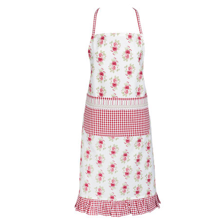 tablier en coton blanc et roses vichy rouge
