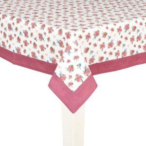 grande nappe rectangulaire 150x250 cm blanche et bordeaux à fleurs