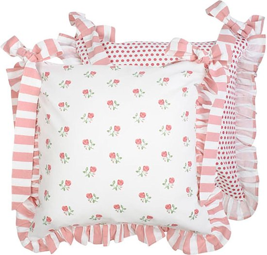 housse de galette de chaise double face blanc rose et pois rouge