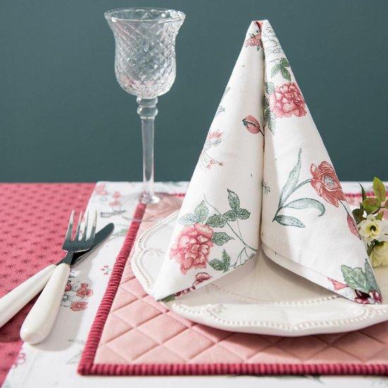 nappe et sets de table assortis rose et blanc