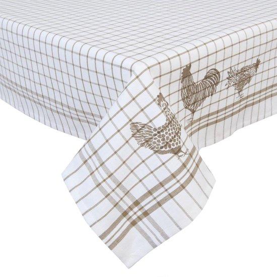 nappe blanche style campagne poule et coq beige