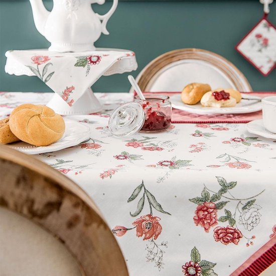 nappe à fleurs liseré rose et fuchsia