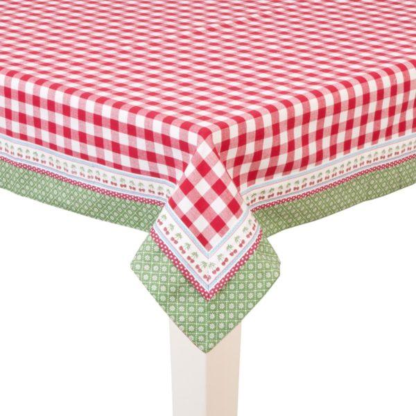 grande nappe rectangulaire vichy rouge liseré vert et cerise pour jardin