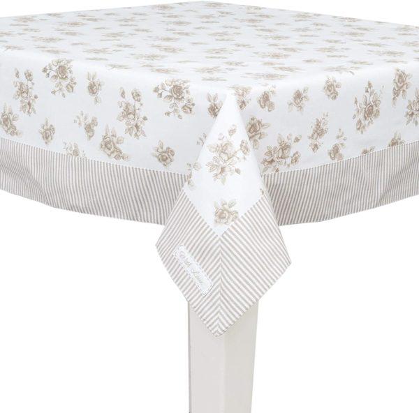 nappe rectangulaire intemporelle et raffinée fleurs beige et lignes