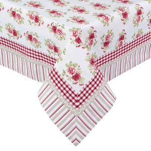 nappe 100x100 cm blanche à fleurs roses liseré vichy rouge en coton