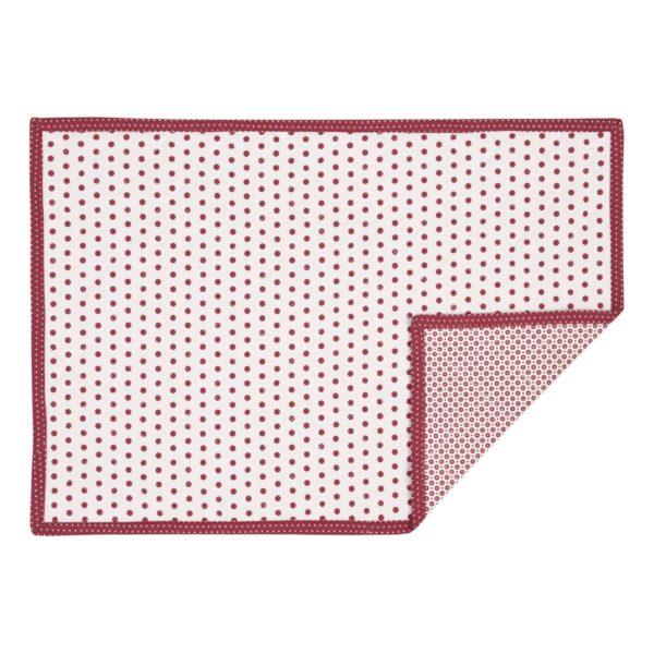 set de table blanc à pois rouge clayre en eef