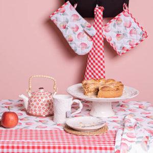 textile de cuisine assorti vichy rouge et pomme coton