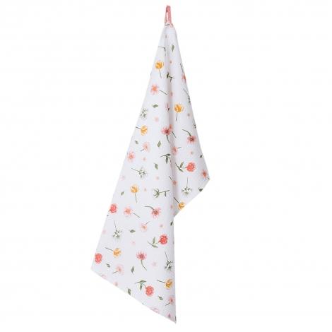 acheter essuie vaisselle à fleurs blanc et pastel en coton
