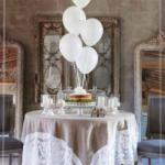 nappe carrée en lin et dentelle style chateau