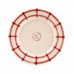 assiette à dessert beige et rouge campagne chic