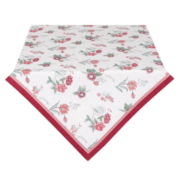 nappe blanche en coton à fleurs liseré rose 150x250cm