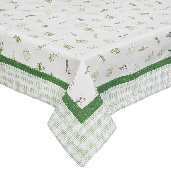 nappe carrée blanche et verte pour le jardin