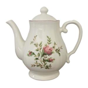 théière Blanc MariClo blanche et rose en céramique