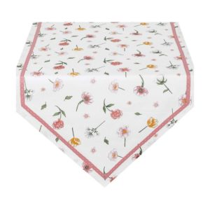 chemin de table blanc liseré rose poudré à fleurs