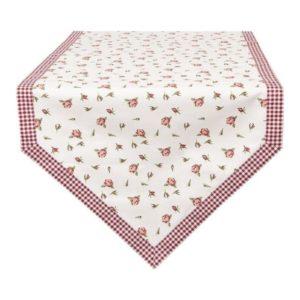 chemin de table en pointe blanc liseré vichy rouge dessin rose clayre en eef