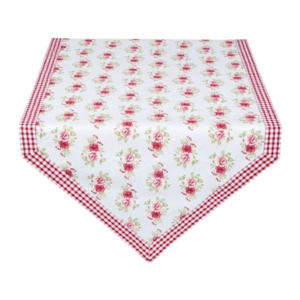 chemin de table fleurs liseré vichy rouge en coton