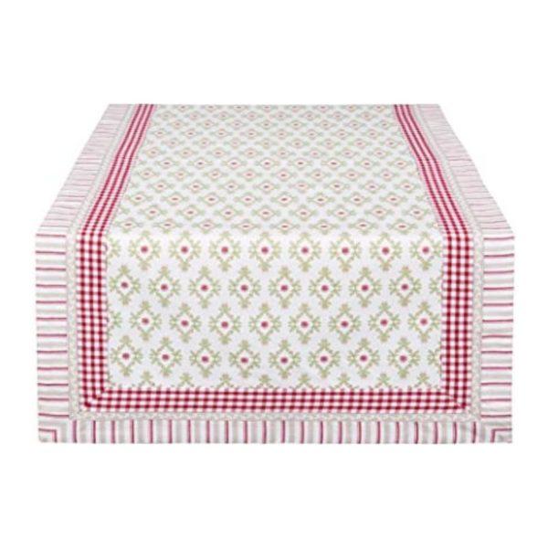 chemin de table à fleurs rose et vert en coton