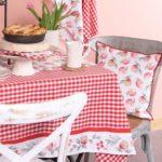 textile de cuisine assorti nappe, galette de chaise, chemin de table et serviettes