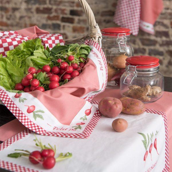 textile de cuisine campagne assorti rose et blanc radis