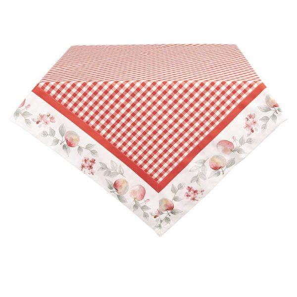 nappe carrée 100x100 cm pomme et vichy rouge idée cadeau maman