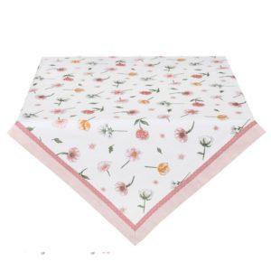 nappe blanche fleurs pastel liseré rose poudré