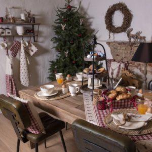 textile de table style rustique chalet d'hiver cerf