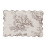 set de table en coton épais toile de jouy blanc cassé et gris