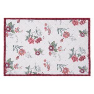 set de table en coton blanc fleuri liseré rose