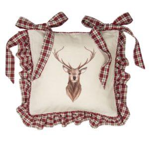housse de galette de chaise cerf style rustique tartan rouge et vert
